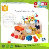 Wooden kids Assembling Educational DIY Toys- Animal Beads Toys Bus