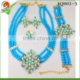 JQ003-5 latest design chunky metal necklace earring set, fashion jewelry set design