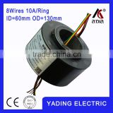 SRH 60130-8p Through hole slip ring ID60mm. OD.130mm. 8Wires, 10A 6wires