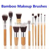 Cosmetics Brushes Professional 11pcs Bamboo Handle Makeup Brush Set, Synthetic Foundation Powder Brushes