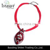 Fashion jewelry Wholesale cotton rope necklace red luxury pendant diamond necklace