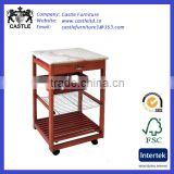Stone top wood kitchen trolley/cart/island with one drawer and mid shelves