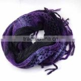 WL-4-00 100%Acrylic &65%Polyester/35%Rayon Crochet Purple Infinity scarf knitting pattern with double sided