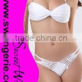 Wrinkle Bikini with Brazilian Bandage Daimond Panty Sexy Fashion Modern Bikini Swimwear NA95-white