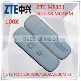 Unlocked New Original 100Mbps ZTE 4G LTE USB Dongle MF823 Support LTE FDD LTE FDD 800/900/1800/2600Mhz