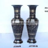 Cast brass Traditional Indian Vases with black paint