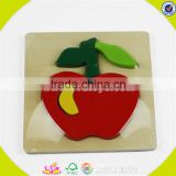 Wholesale cheap baby wooden apple jigsaw toy simple style wooden apple jigsaw toy best gift kids puzzle W14G001