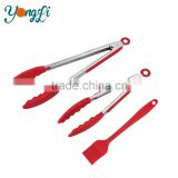 Kitchen and Barbecue Grill Tongs Basting Brush Set Silicone BBQ Cooking Stainless Steel Locking Food Tong