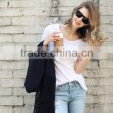 The new model fashion pure color rounded hem loose plus size bamboo cotton leisure short sleeve T shirt for women
