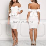 Fabulous Sexy Girls White Off Shoulder Peplum Bodycon Night Party Dress Pictures All Types Of Ladies Dresses HSd5039