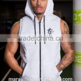 Light Grey 100% Cotton Fleece Slim Fit Gym Hoodie Custom Sleeveless Hoodie Wholesale Mens Tracksuit Top