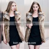 Europe style woman raw colour raccoon fur vest lady faux fur waistcoat winter sleeveless coat