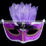 2016 High quality plastic halloween mask adult carnival feather half face mask