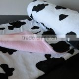 Handmake Minky Baby Girl Blanket - Black and White Cow on Pink 90*120cm