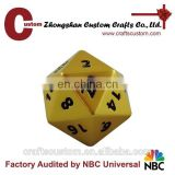 Custom 20 sided metal RPG dice in misty gold finish