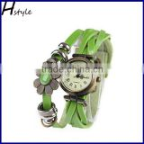 Ladies Flower Sense Retro Wrap Around Weave Leather Quartz Bracelet Wrist Watch Green WP007
