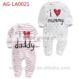 crotchless bodysuit baby white clothes autumn and spring plain rompers and with stripes AG-LA0021