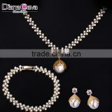 Top Selling Fashion Jewelry Trend 2016 Pearl CZ Luxury Drop Earrings Necklace Set
