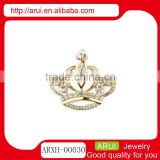 2014 free sample prom rhinestone gold royal crown brooches pin