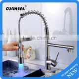 No.K054B Desk Mounted Brushed Kitchen Mixer Tap, Brass LED Kitchen Tap                                                                                         Most Popular