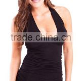 Ladies Black Ruched Side Deep V-Neck Sleeveless Halter Top