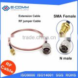 Hot sale coaxial Flexible blue jumper cable RG405 6in SMA female jack to N male with nut bulkhead RF 3G 4G router