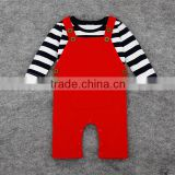High quality new baby set stripe cotton T-shirt &overall red,two piece fall long sleeves baby boy/girl clothes,kids wear