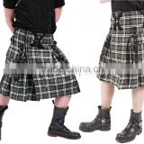 MENS GOTHIC KILT BLACK & WHITE TARTAN