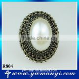 Competitive price fashion ring jewelry pearl antique gold ring R804                                                                                                         Supplier's Choice