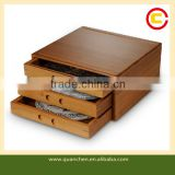 Premium 3-layer Bamboo Tea Bag Storage BOX With Drawers