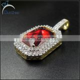 2 tone color hip hop ruby pendant