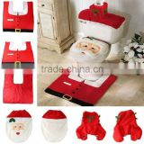 Christams Decoration Snowman Toilet Seat Cover and Rug Bathroom Set