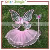 Baby girl fairy dress with butterfly wings, with magic wand fairy dress