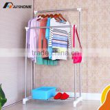 Double pole clothes display rack,Steel clothes hanging rack,Foldable floor standing clothes rack