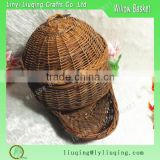 Unpeeled willow wicker basket with cover/Fishing basket wicker /Wicker fishing creel basket