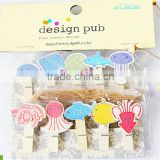 Small wood clip children's memo clip to clip the photo household daily/sea creatures PN6362