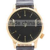 best black metal gold watch band wholesale men's genuine leather watch