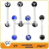 Wholesale stainless Steel body piercing jewelry 16g industrial barbell fake barbell piercing