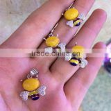 New Arrival Fashionable 925 Sterling Silver Natural Amber Bee Model Jewelry Set
