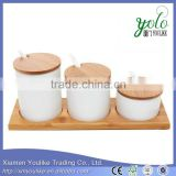 Set of 3 White Ceramic Condiment Pots Spice Serving Jars Bamboo tray