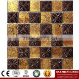 IMARK Yellow Gold Foil Glass Mosaic Tile Mix Flower Resin Mosaic Tile, Foshan Tile