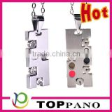 most popular rectangle crystal locket fashion stainless steel magnetic pendant necklace for couple