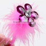 Crystal pink fluffy feather ball pen with diamante flower on the topper for wedding /gift pen