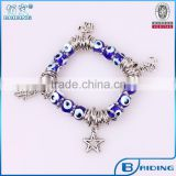 2015 Handmade blue evil eye bead bracelet with hamsa star elephant charm bracelet factory