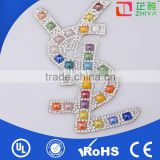 Wholesale colorful rhinestone decorative iron letters