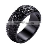 Latest wedding ring designs black plated stainless steel ring black zirconium ring titanium ring