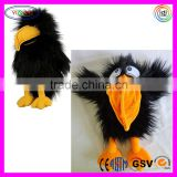 D375 Black Long Fur Crow Stuffed Puppet Plush Crow Toy