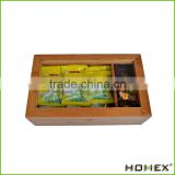 Best Bamboo Tea Box Natural Chest with Clear Hinged Lid, 8 Storage Sections