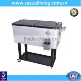 Outdoor Portable Steel Cooler Trolley Rolling Cart with Shelf Beer Cooler Box