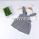 Wholesale Handmade Girl Party Dress Children Frocks Stripe Designs Ruffle Sleeve Baby Girls Clothing